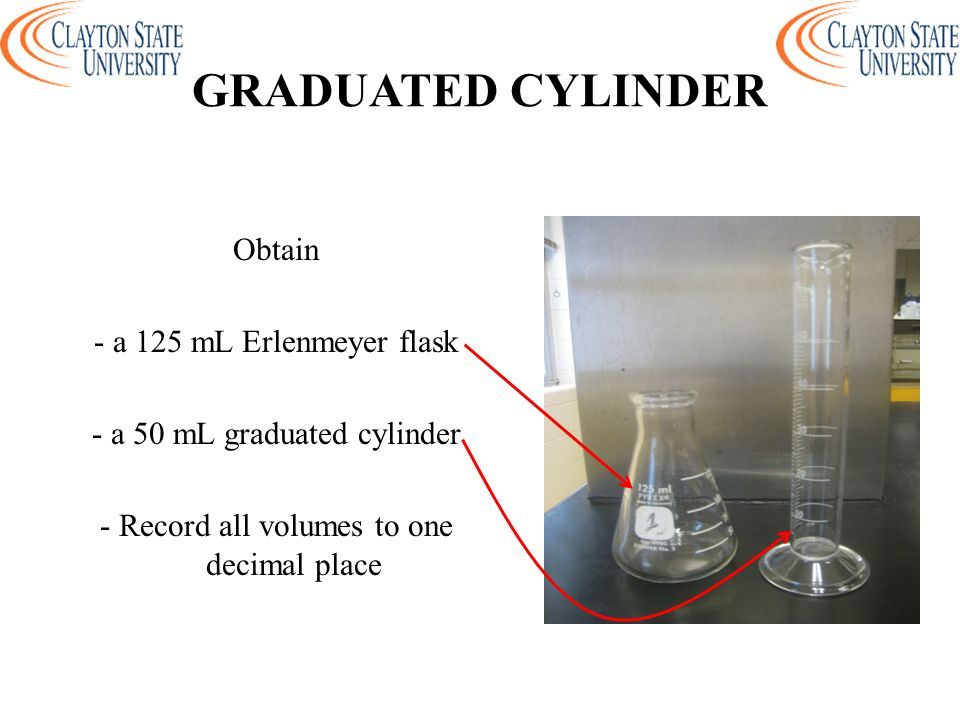GRADUATED CYLINDER Obtain - a 125 mL Erlenmeyer flask - a 50 mL graduated cylinder - Record all volumes to one decimal place