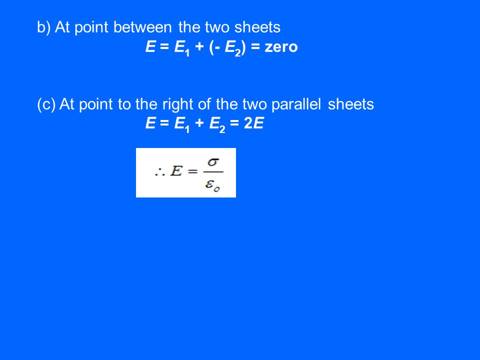 b) At point between the two sheets E = E1 + (- E2) = zero