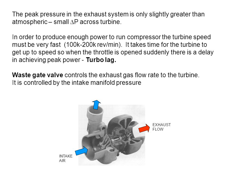 The peak pressure in the exhaust system is only slightly greater than