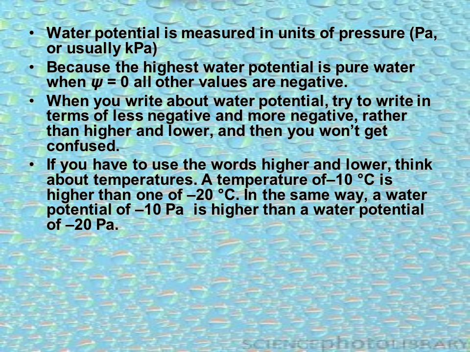 Water potential is measured in units of pressure (Pa, or usually kPa)