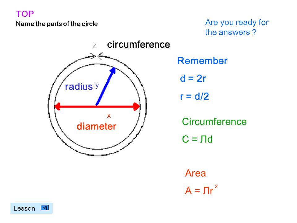circumference Remember d = 2r r = d/2 radius Circumference diameter