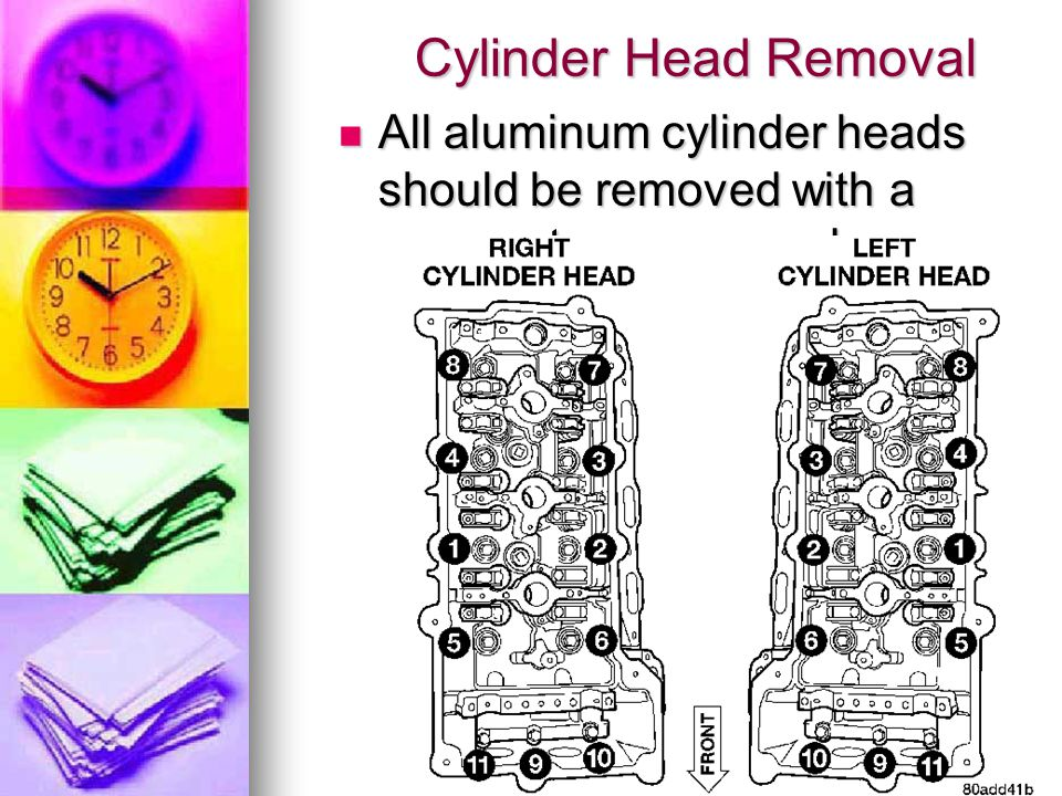 Cylinder Head Removal All aluminum cylinder heads should be removed with a reverse torque procedure.