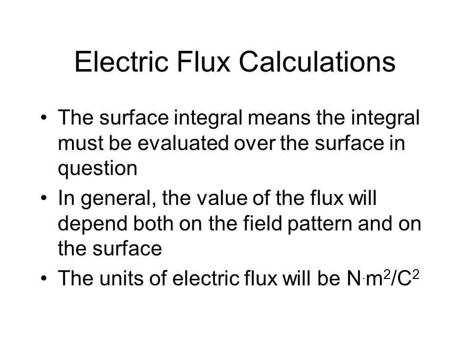Electric Flux Calculations