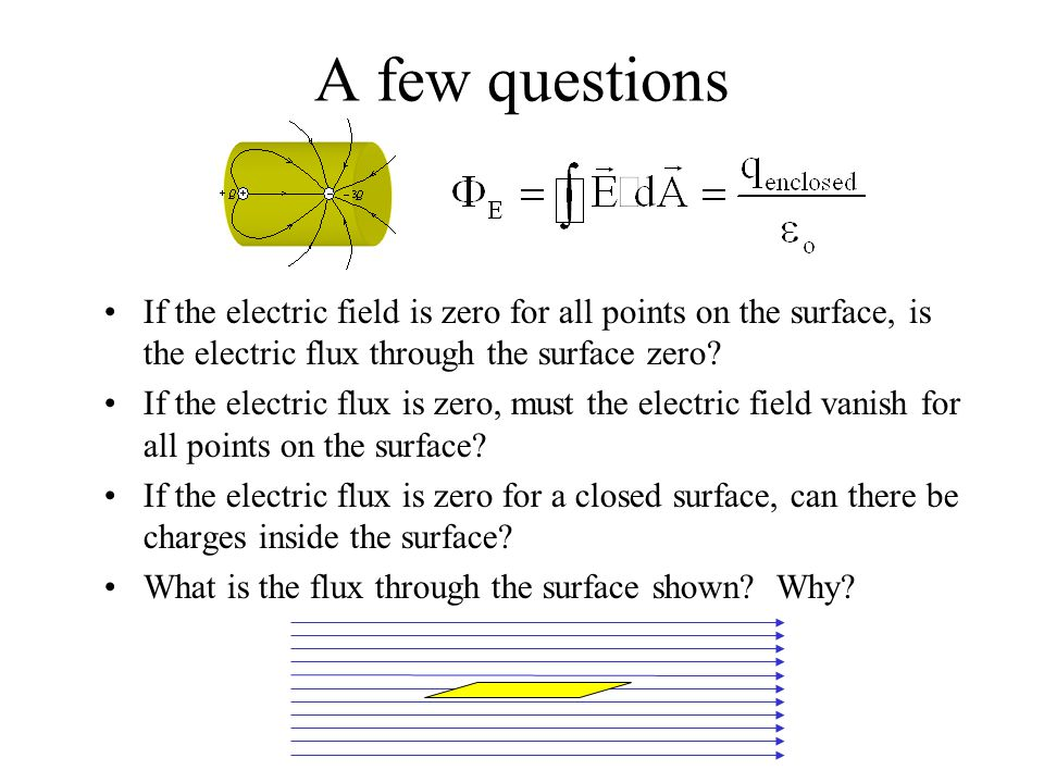 A few questions If the electric field is zero for all points on the surface, is the electric flux through the surface zero