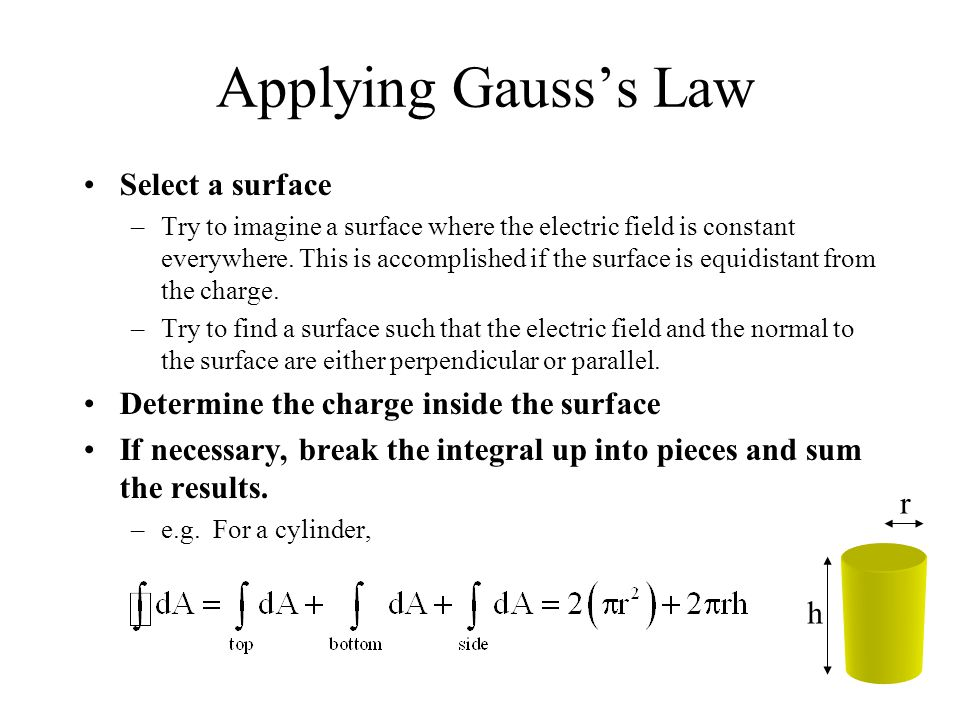 Applying Gauss's Law Select a surface