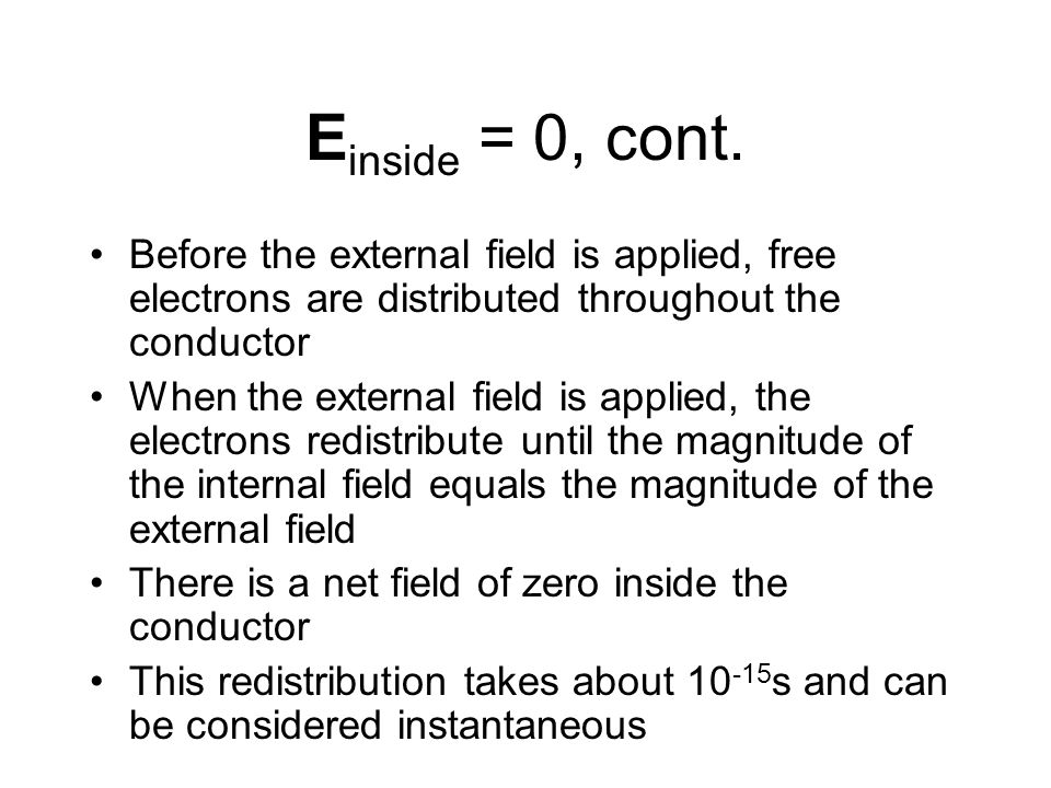 Einside = 0, cont. Before the external field is applied, free electrons are distributed throughout the conductor.