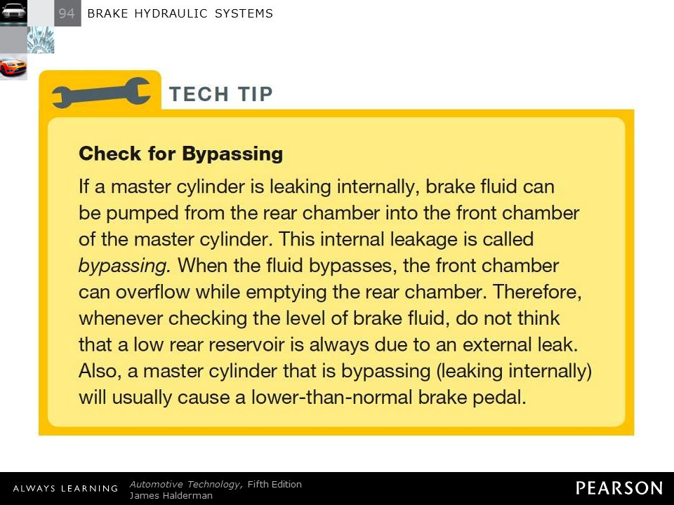 TECH TIP: Check for Bypassing If a master cylinder is leaking internally, brake fluid can be pumped from the rear chamber into the front chamber of the master cylinder. This internal leakage is called bypassing. When the fluid bypasses, the front chamber can overflow while emptying the rear chamber. Therefore, whenever checking the level of brake fluid, do not think that a low rear reservoir is always due to an external leak. Also, a master cylinder that is bypassing (leaking internally) will usually cause a lower-than-normal brake pedal.