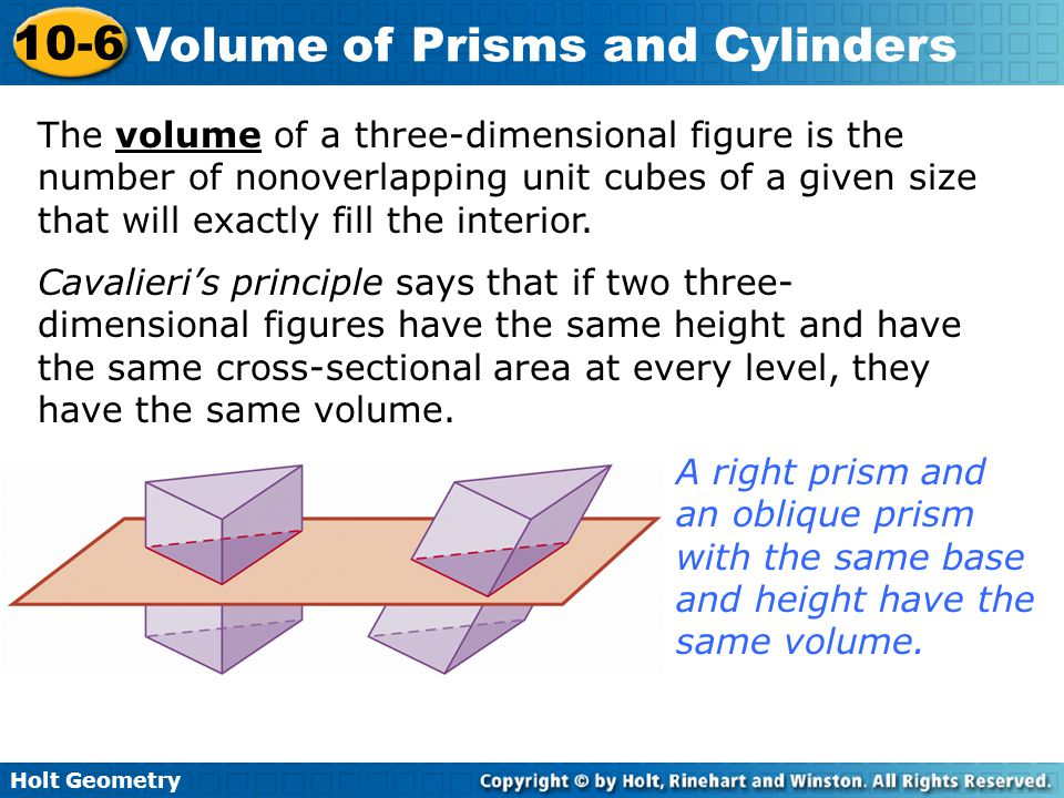 The volume of a three-dimensional figure is the number of nonoverlapping unit cubes of a given size that will exactly fill the interior.