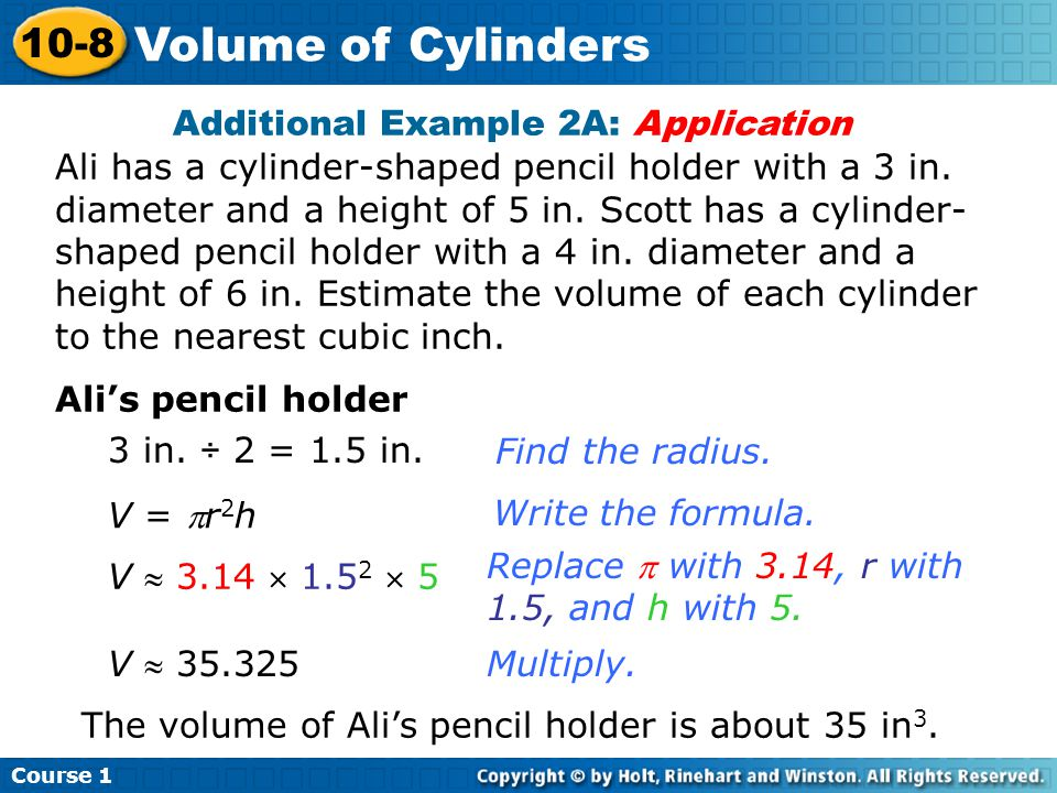 Course 1 10-8. Volume of Cylinders.