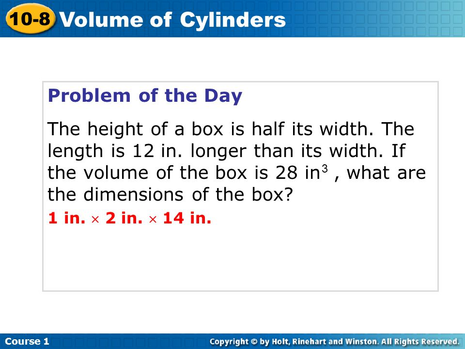 Volume of Cylinders 10-8 Problem of the Day