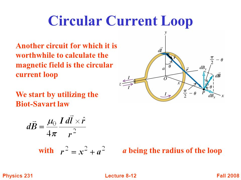 Circular Current Loop Another circuit for which it is worthwhile to calculate the magnetic field is the circular current loop.