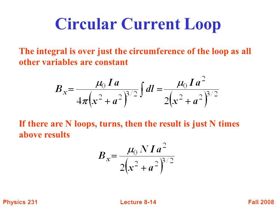 Circular Current Loop The integral is over just the circumference of the loop as all other variables are constant.