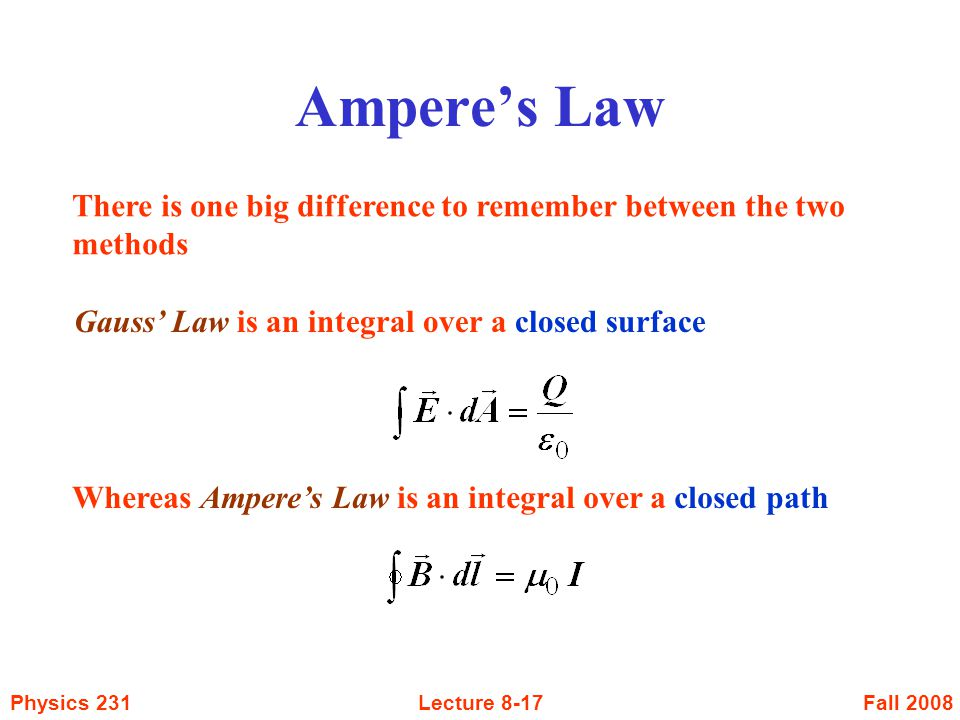 Ampere's Law There is one big difference to remember between the two methods. Gauss' Law is an integral over a closed surface.