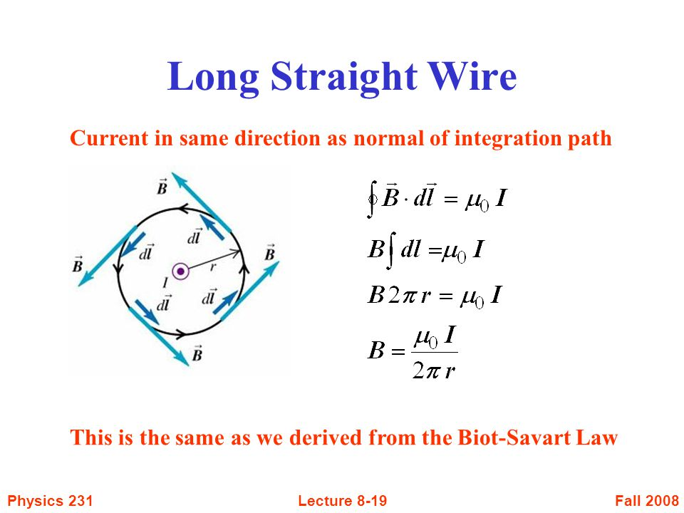 Long Straight Wire Current in same direction as normal of integration path.