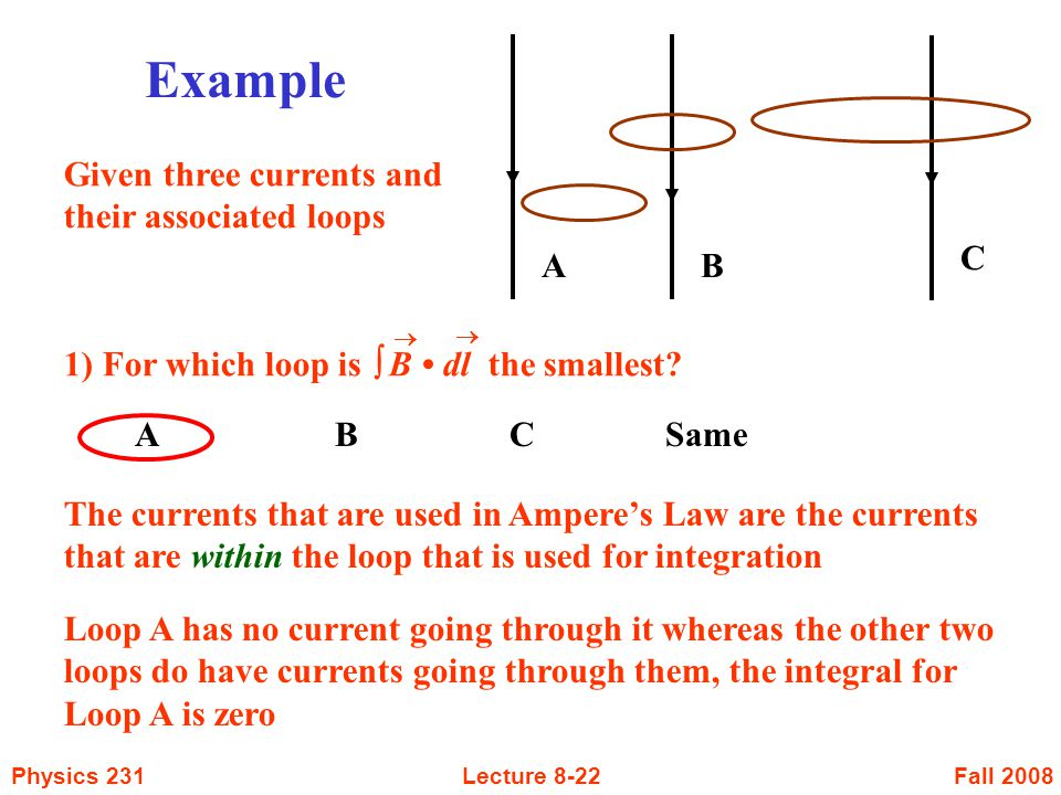 Example A B C Given three currents and their associated loops