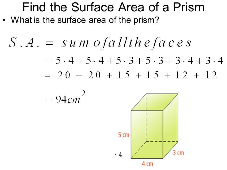 Find the Surface Area of a Prism
