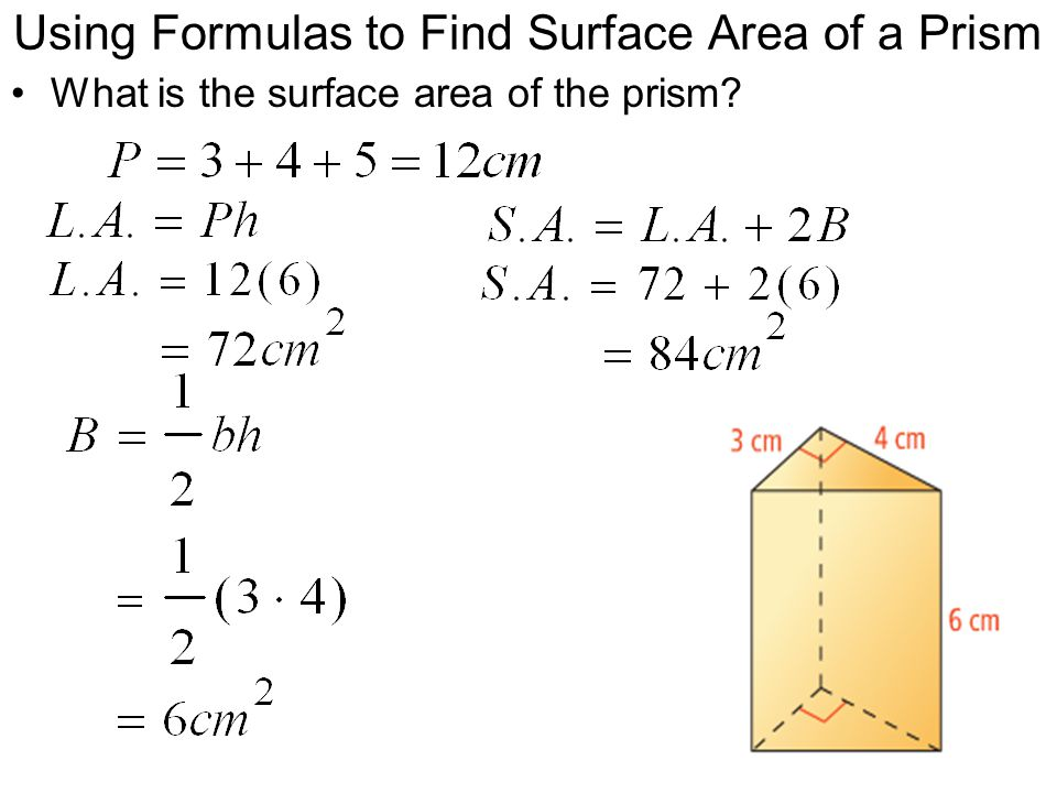Using Formulas to Find Surface Area of a Prism