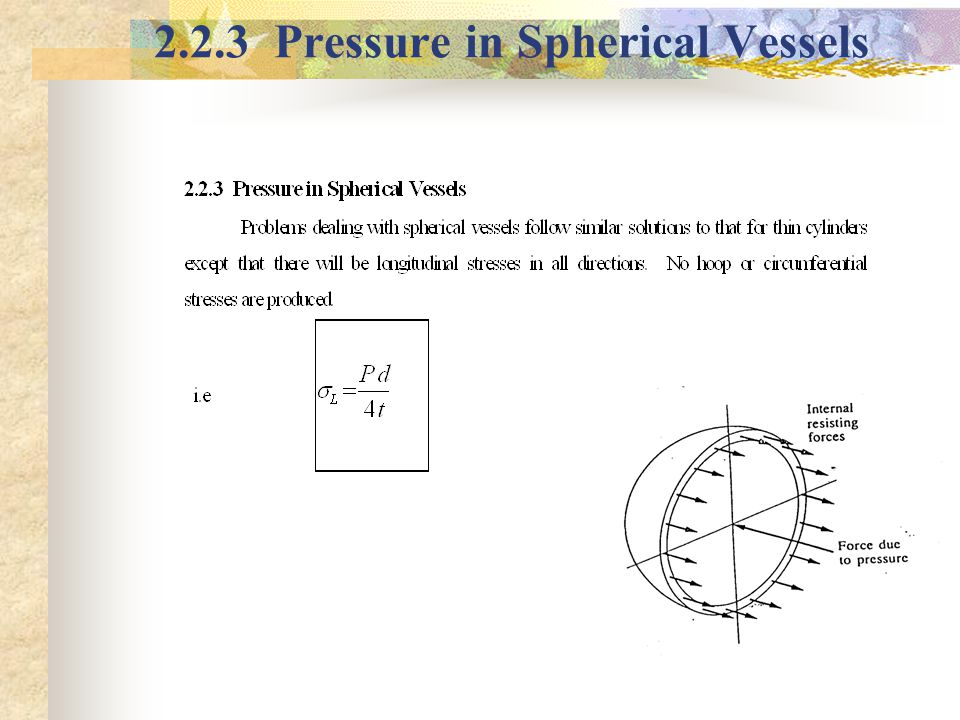 2.2.3 Pressure in Spherical Vessels