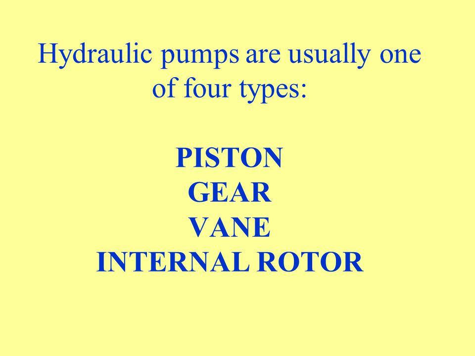 Hydraulic pumps are usually one of four types: PISTON GEAR VANE INTERNAL ROTOR