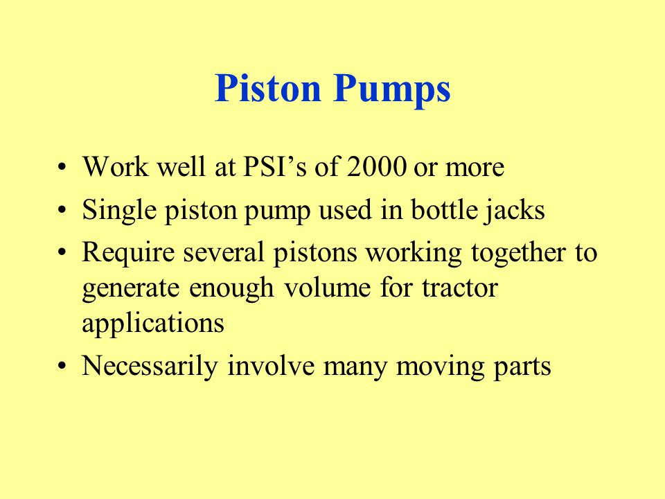 Piston Pumps Work well at PSI's of 2000 or more