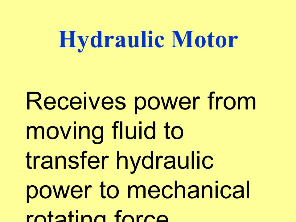 Hydraulic Motor Receives power from moving fluid to transfer hydraulic power to mechanical rotating force.