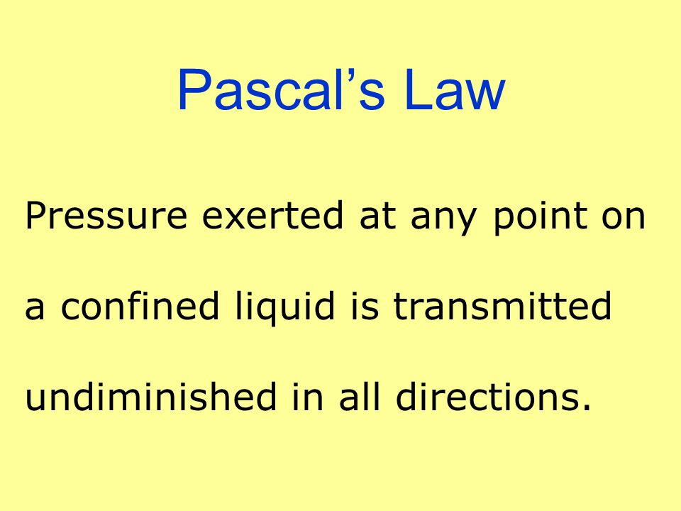 Pascal's Law Pressure exerted at any point on