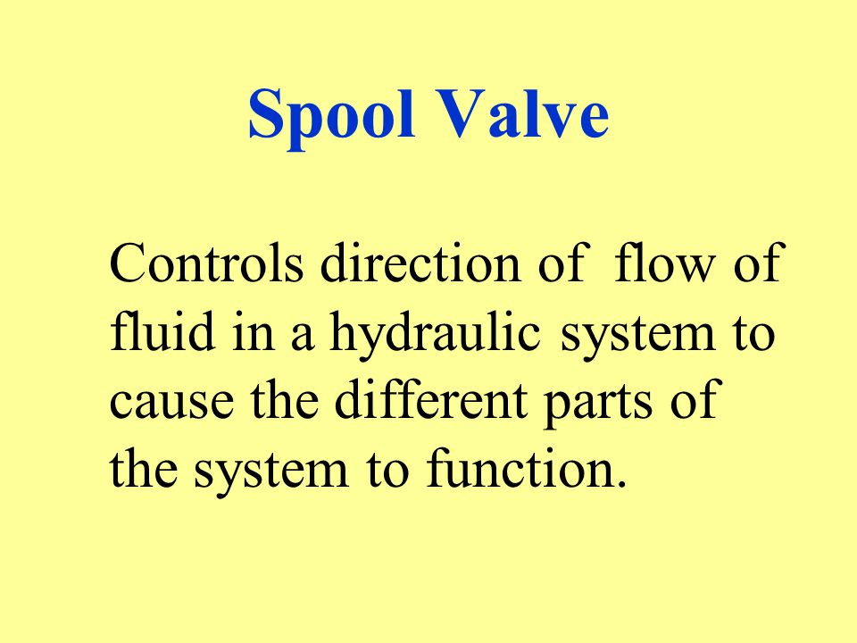 Spool Valve Controls direction of flow of fluid in a hydraulic system to cause the different parts of the system to function.