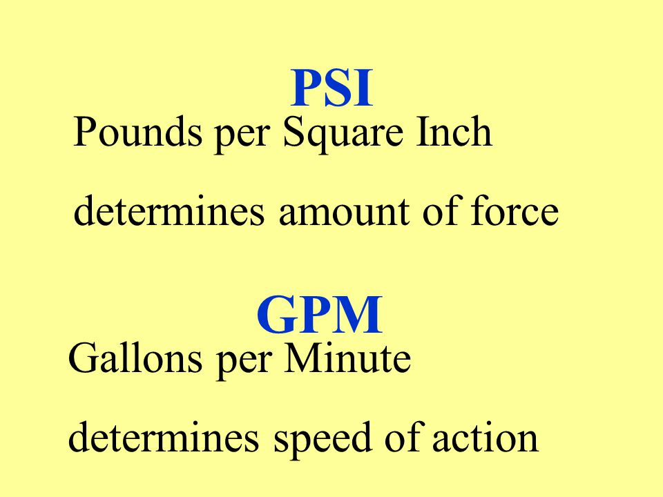 PSI GPM Pounds per Square Inch determines amount of force