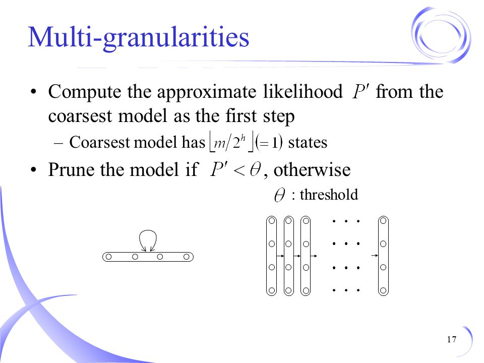 Multi-granularities Compute the approximate likelihood from the coarsest model as the first step.