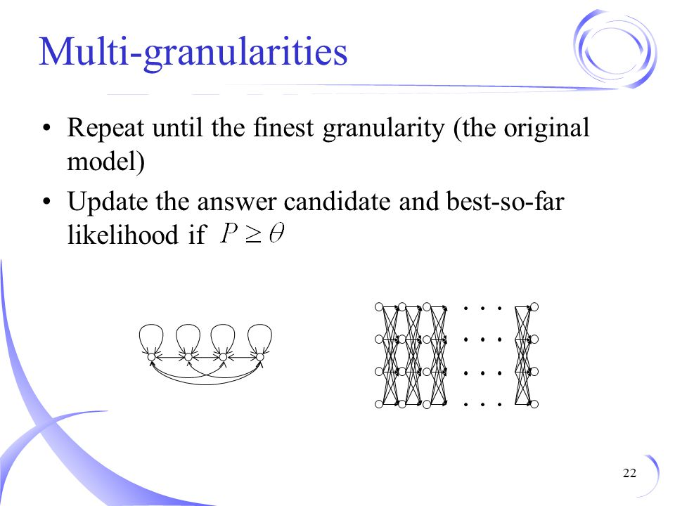 Multi-granularities Repeat until the finest granularity (the original model) Update the answer candidate and best-so-far likelihood if.