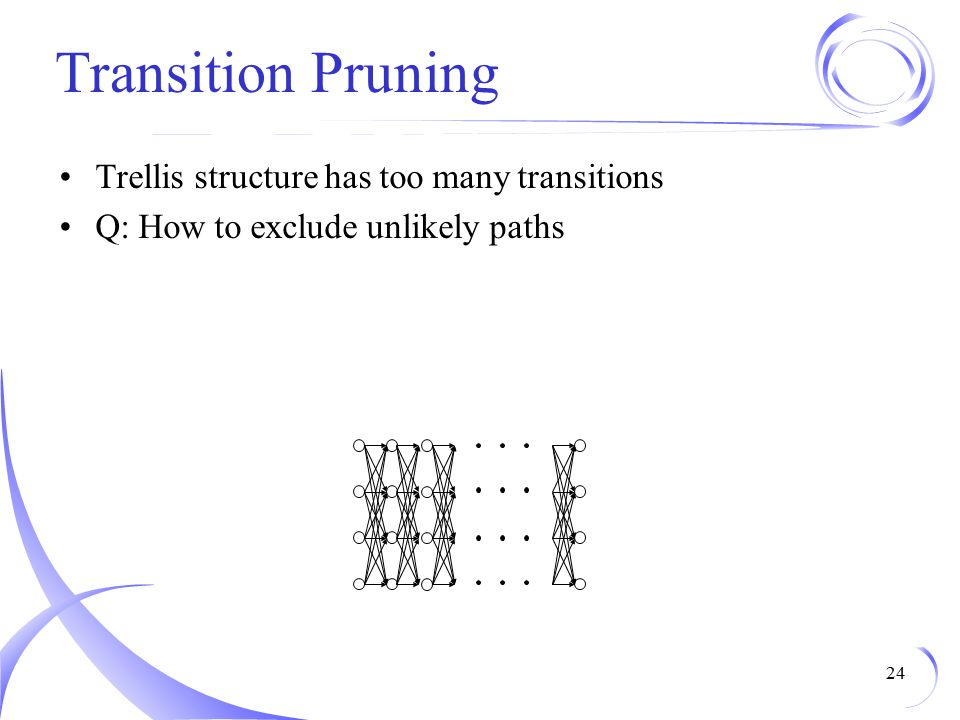 Transition Pruning Trellis structure has too many transitions