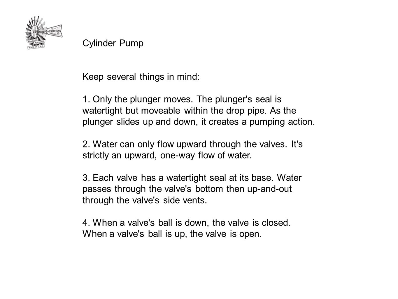 Cylinder Pump Keep several things in mind: