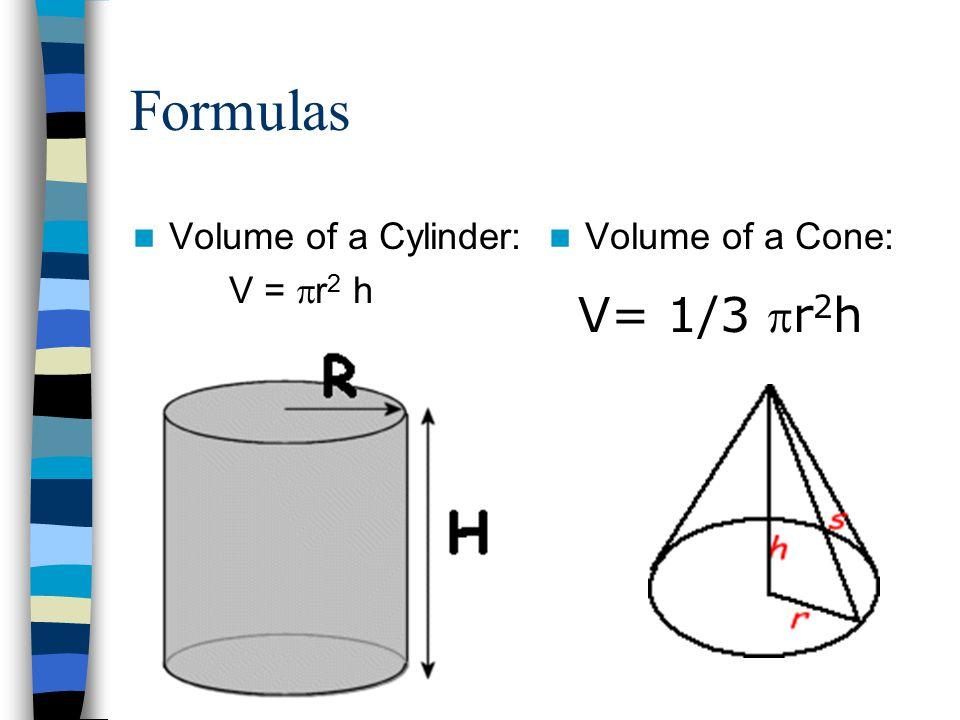 Formulas Volume of a Cylinder: V = r2 h Volume of a Cone: V= 1/3 pr2h