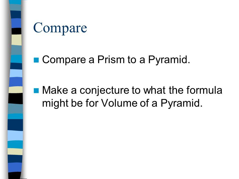 Compare Compare a Prism to a Pyramid.