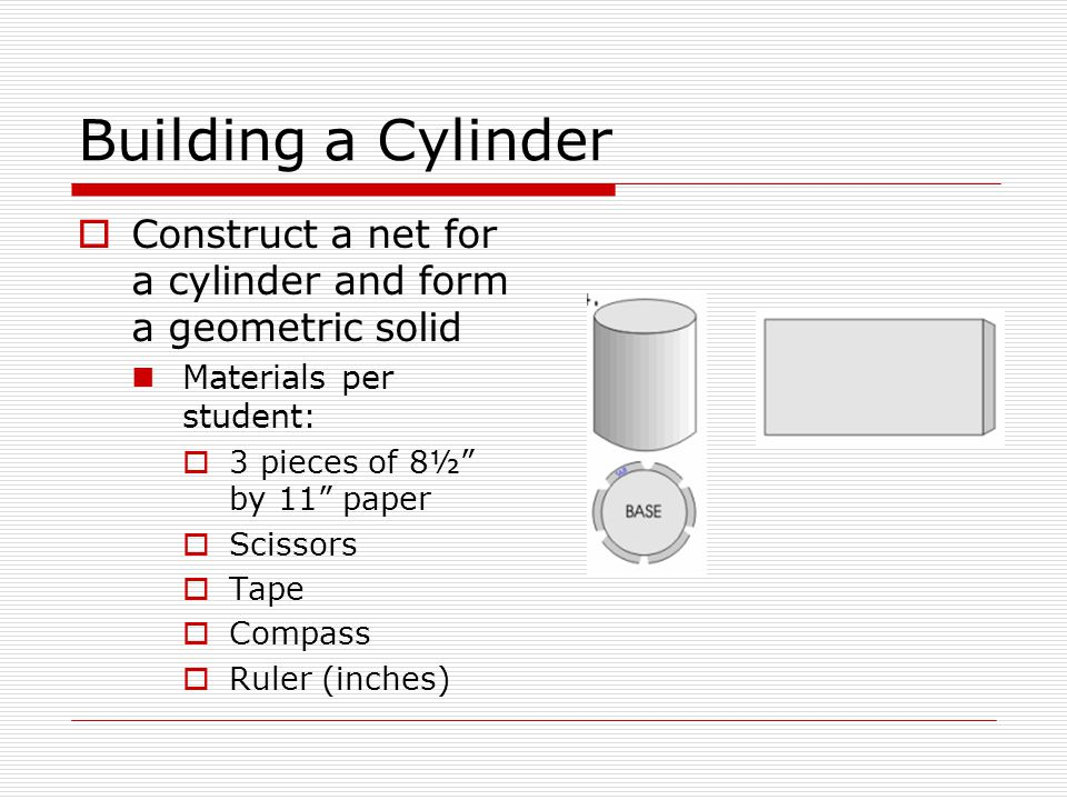 Building a Cylinder Construct a net for a cylinder and form a geometric solid. Materials per student: