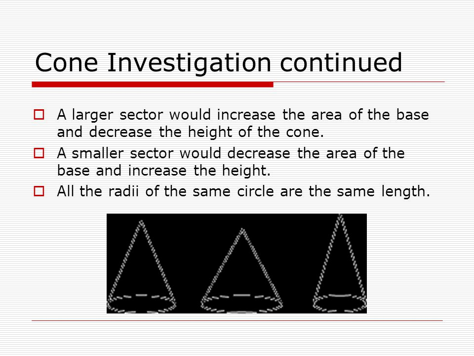 Cone Investigation continued