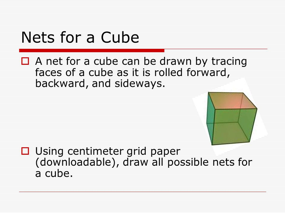 Nets for a Cube A net for a cube can be drawn by tracing faces of a cube as it is rolled forward, backward, and sideways.