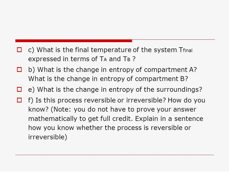 c) What is the final temperature of the system Tfinal expressed in terms of TA and TB
