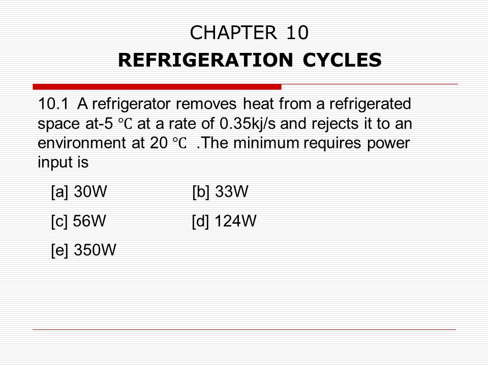 CHAPTER 10 REFRIGERATION CYCLES