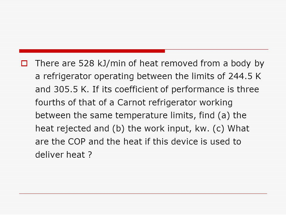 There are 528 kJ/min of heat removed from a body by a refrigerator operating between the limits of 244.5 K and 305.5 K.