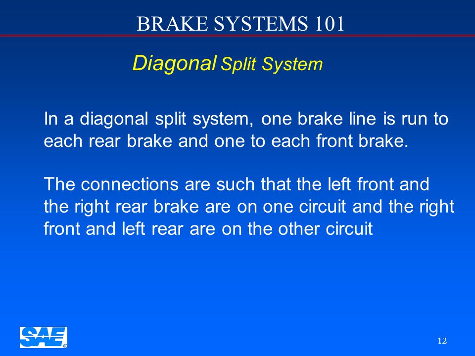 12/4/2006 Diagonal Split System. In a diagonal split system, one brake line is run to. each rear brake and one to each front brake.