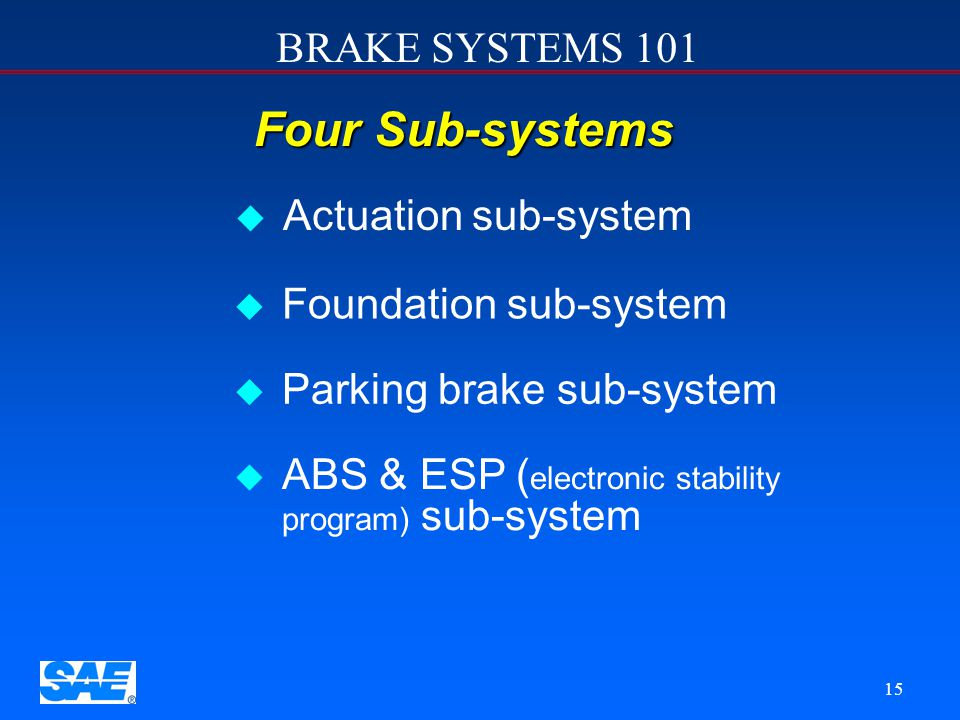 Four Sub-systems Actuation sub-system Foundation sub-system