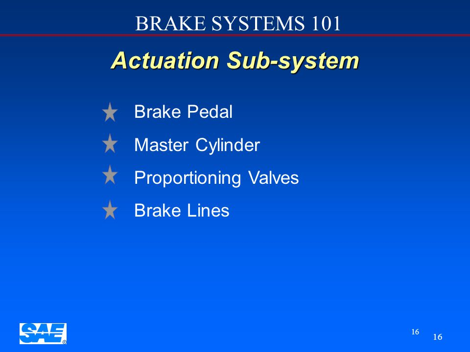 Actuation Sub-system Brake Pedal Master Cylinder Proportioning Valves