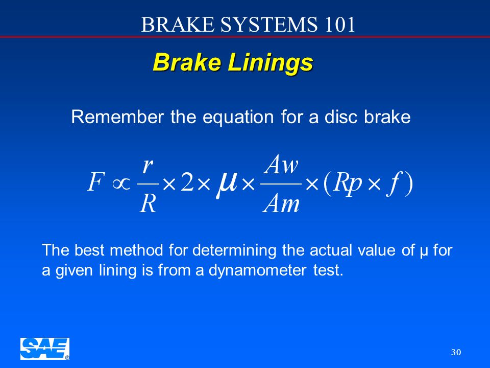 Remember the equation for a disc brake