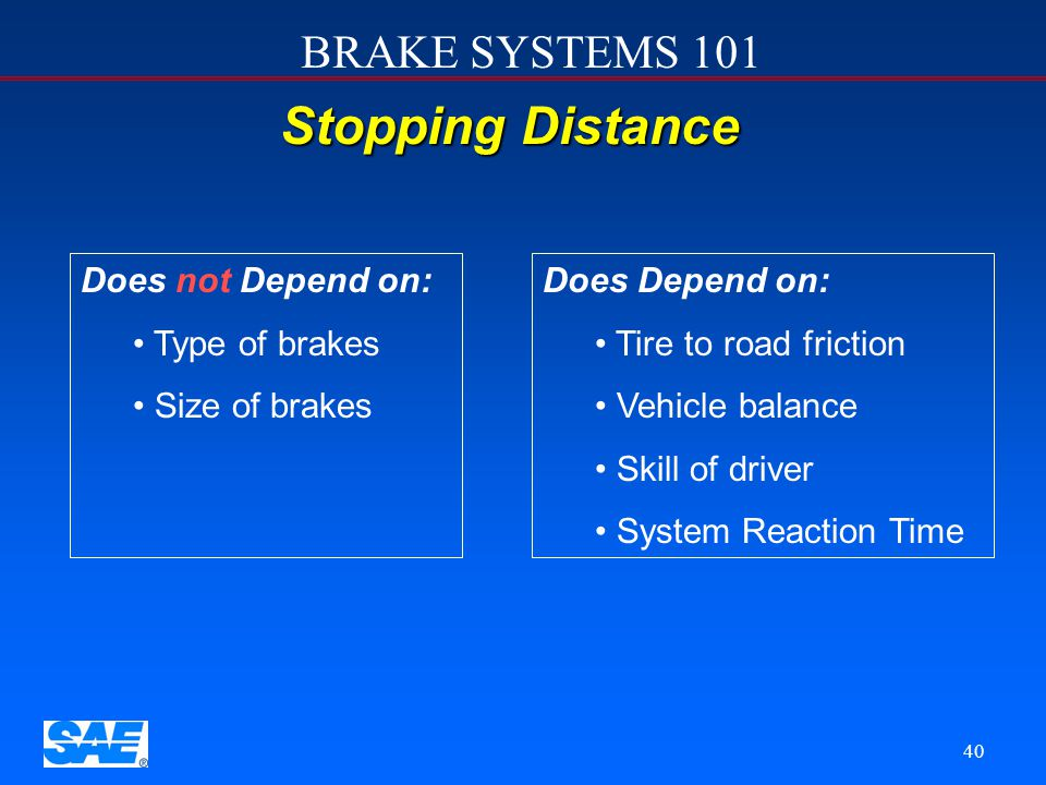 Stopping Distance Does not Depend on: Type of brakes Size of brakes