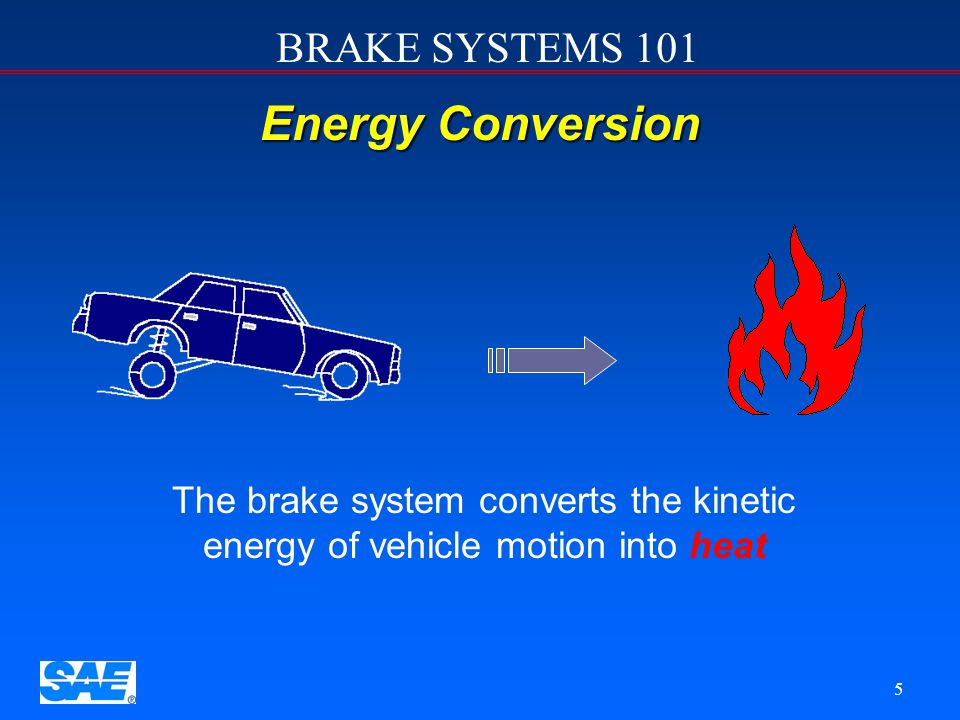 12/4/2006 Energy Conversion. The brake system converts the kinetic energy of vehicle motion into heat.
