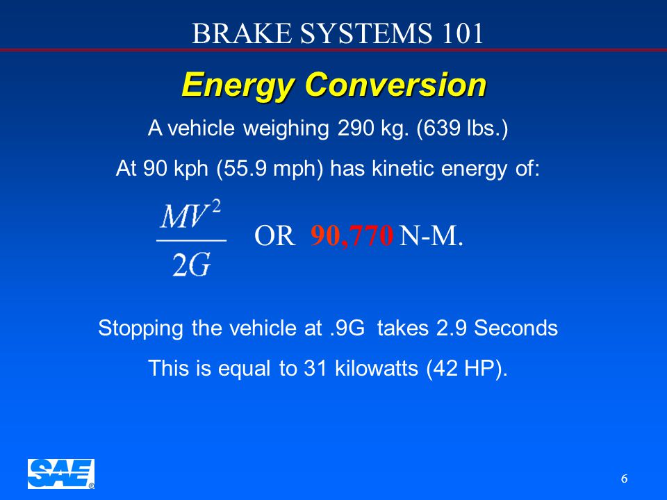 Energy Conversion OR 90,770 N-M. A vehicle weighing 290 kg. (639 lbs.)