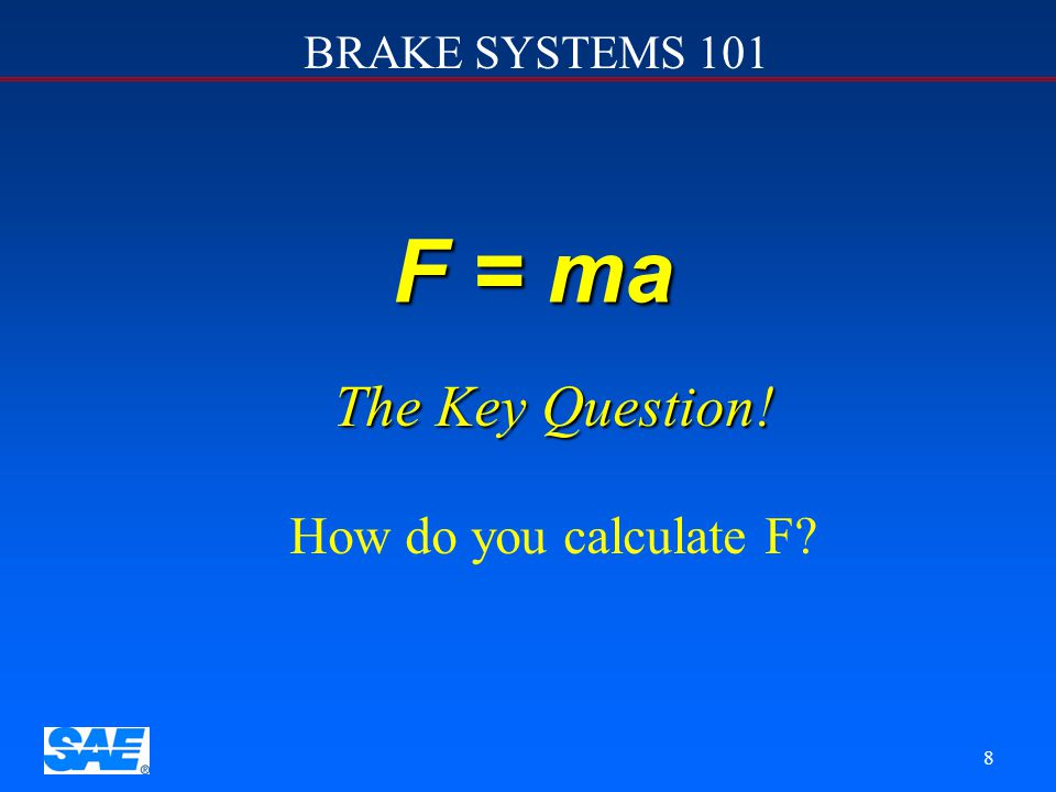 F = ma The Key Question! How do you calculate F 12/4/2006