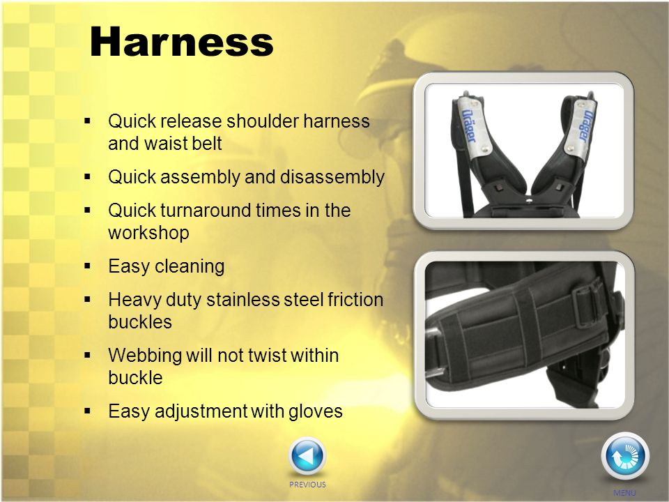 Harness Quick release shoulder harness and waist belt