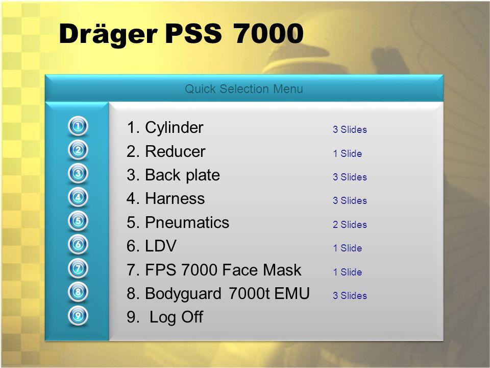 Dräger PSS 7000 Cylinder 3 Slides Reducer 1 Slide Back plate 3 Slides